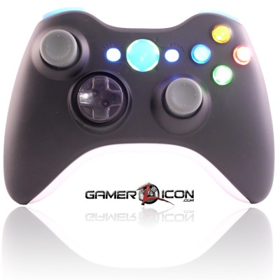 Xbox 360 Black White modded controller