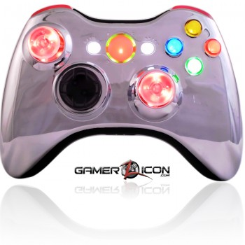 Xbox 360 Chrome Red Modded Controller