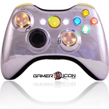 Xbox 360 Chrome Yellow Modded Controller