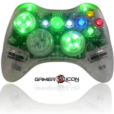 Xbox 360 Crystal Green Controller With LED Thumbsticks