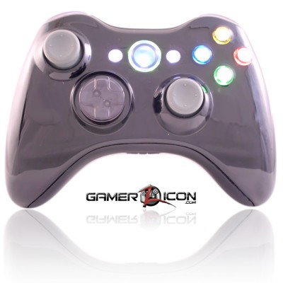 Xbox 360 Piano Black modded controller