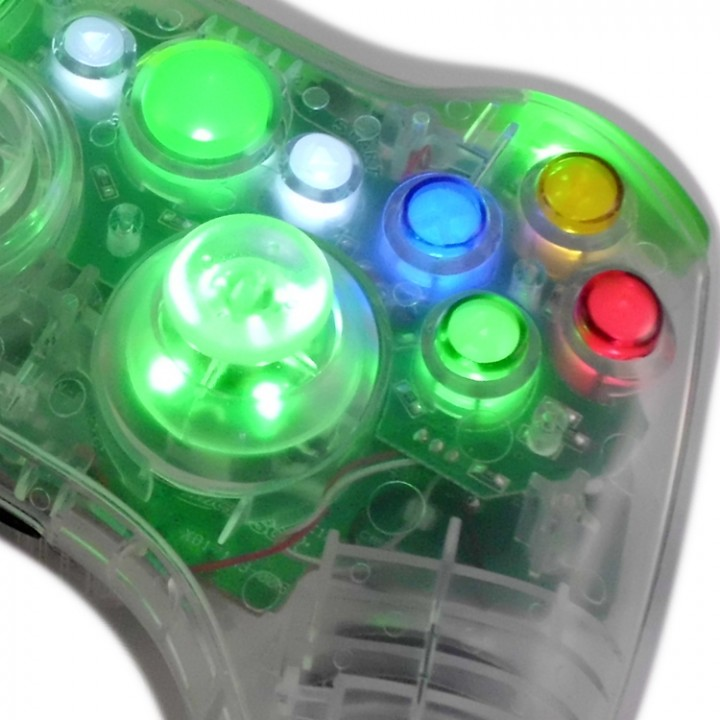 Xbox Crystal Green Modded Controller With LED Thumbsticks