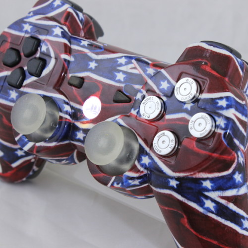 Custom Order From A Customer.  Chrome Bullet Buttons, Glow In The Dark Thumbsticks and LED Lighted PS Button