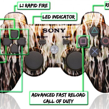 PS3 10 Mode Modded Controller White Flames