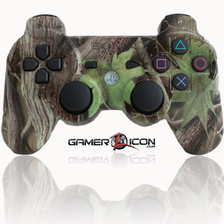 PS3 Modded Controller Green Leaf Camo