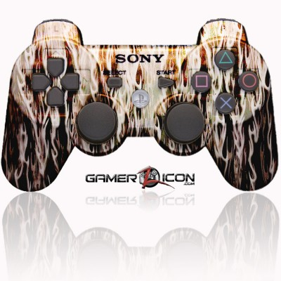 PS3 Modded Controller White Flames