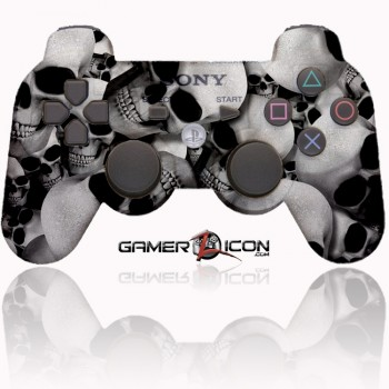 PS3 Modded Controller White Skull
