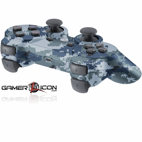 PS3 Navy Digital Camo Modded Controller