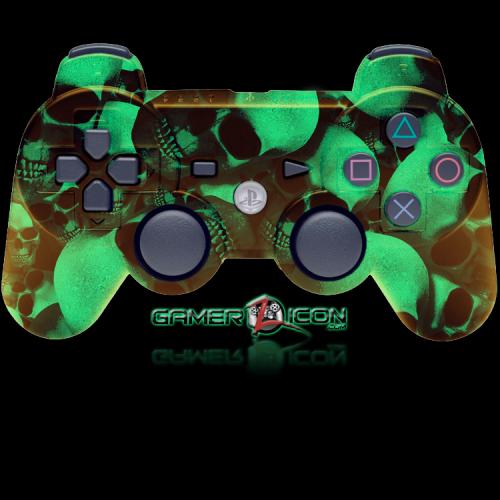PS3 Modded Controller Glow In Dark Skull