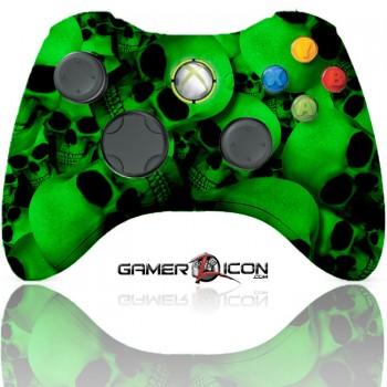 Xbox 360 Modded Controller Green Skull