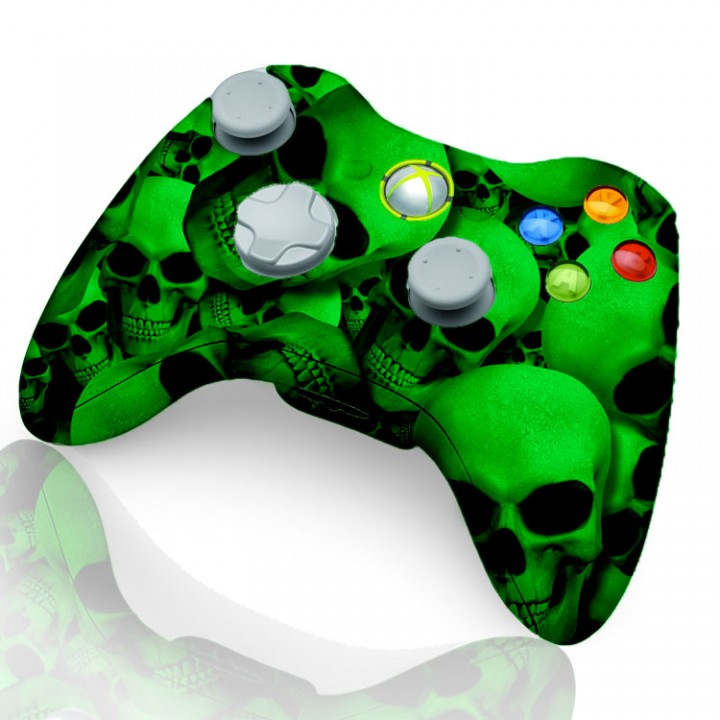 Xbox 360 Rapid Fire Controller Green Skull