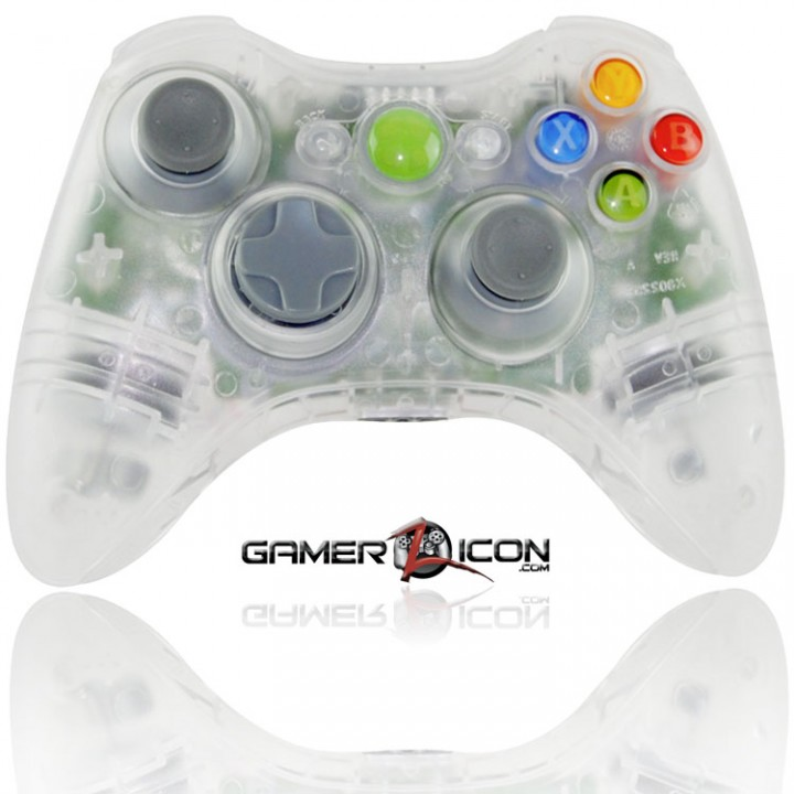 Xbox 360 modded controller crystal clear transparent