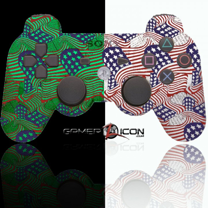 PS3 American Flag Glow In the Dark Modded Controller