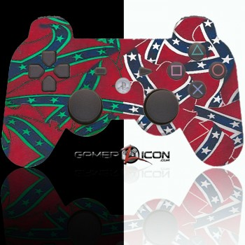 PS3 Modded Controller Confederate Glow In the Dark