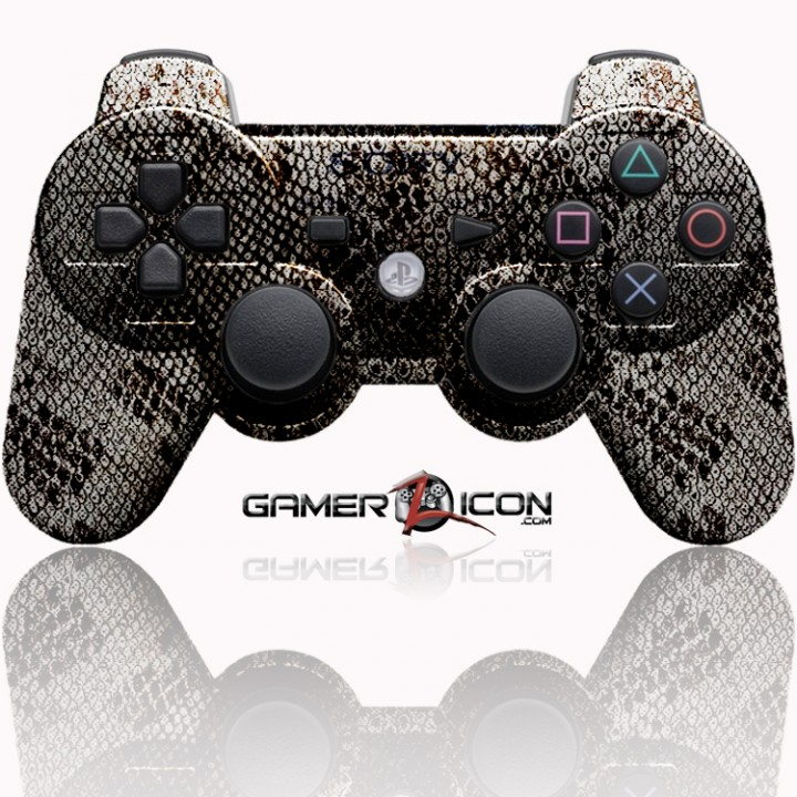 PS3 Modded Controller Silver Snake skin