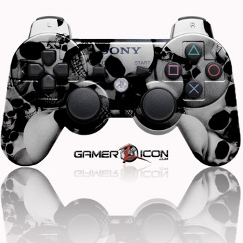 PS3 Modded Controller Skull Silver
