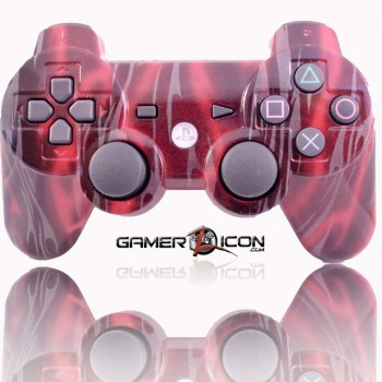 PS3 Modded Controller Red Flames
