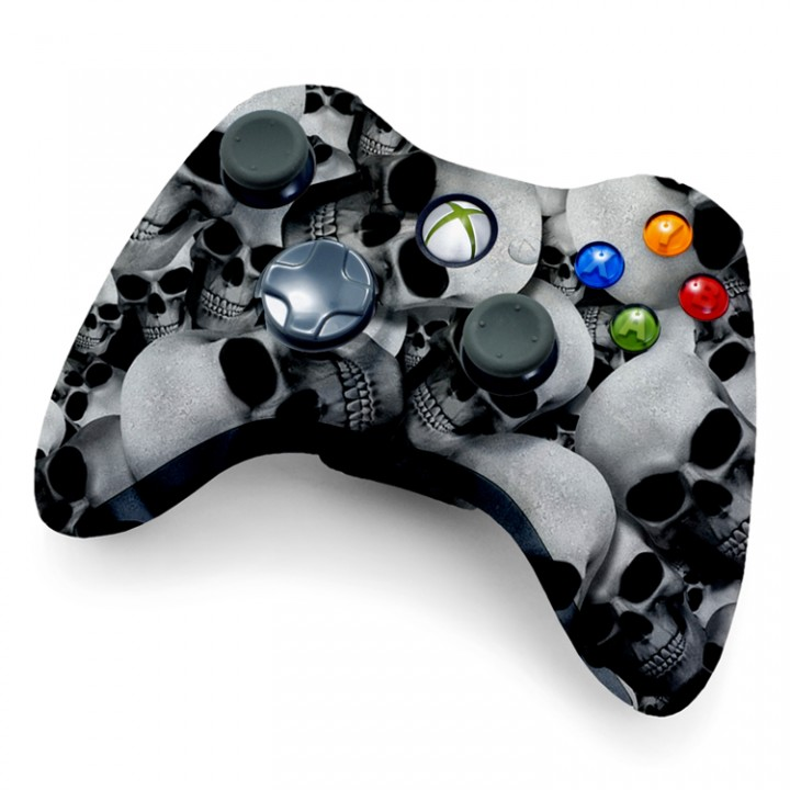 Xbox 360 Rapid Fire White Skull Controller