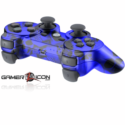 PS3 Blue Skull Modded Controller