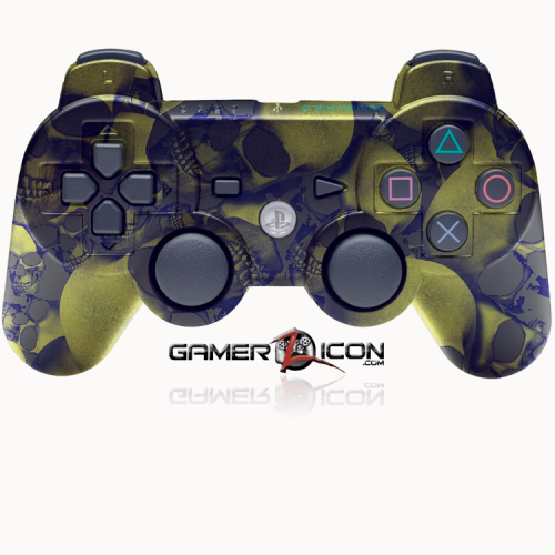 PS3 Gold Skull Rapid Fire Modded Controller