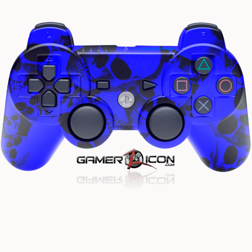 PS3 Modded Controller Blue Skull