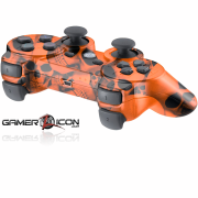PS3 Orange Skull Modded Controller
