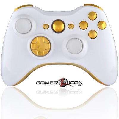 Xbox 360 Modded Controller Polished White & Gold