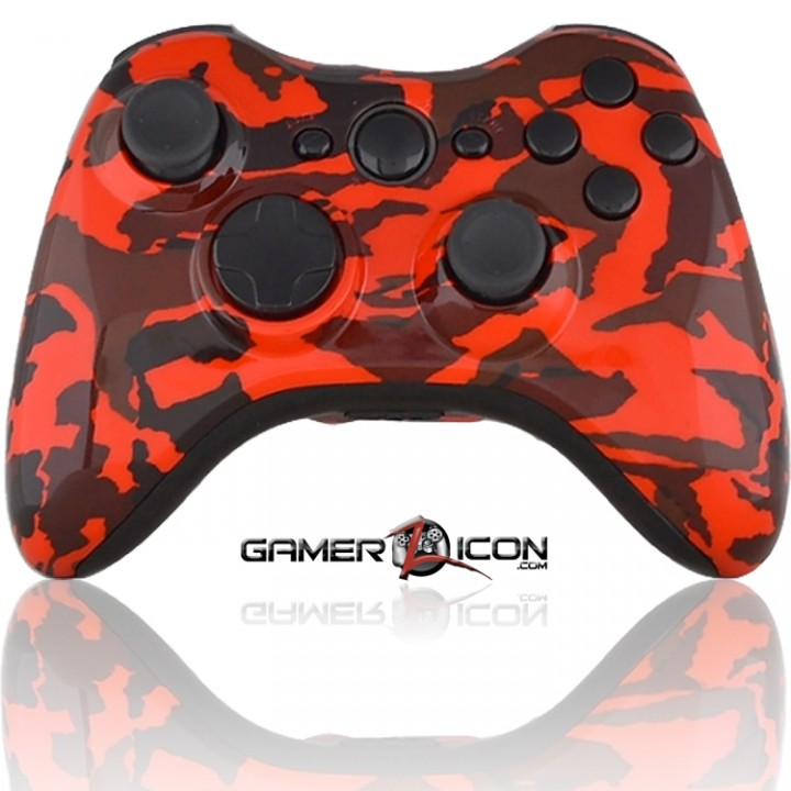 Xbox 360 Modded Controller Red Camo