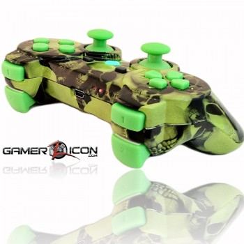 PS3 All Skull Green Rapid Fire Controller