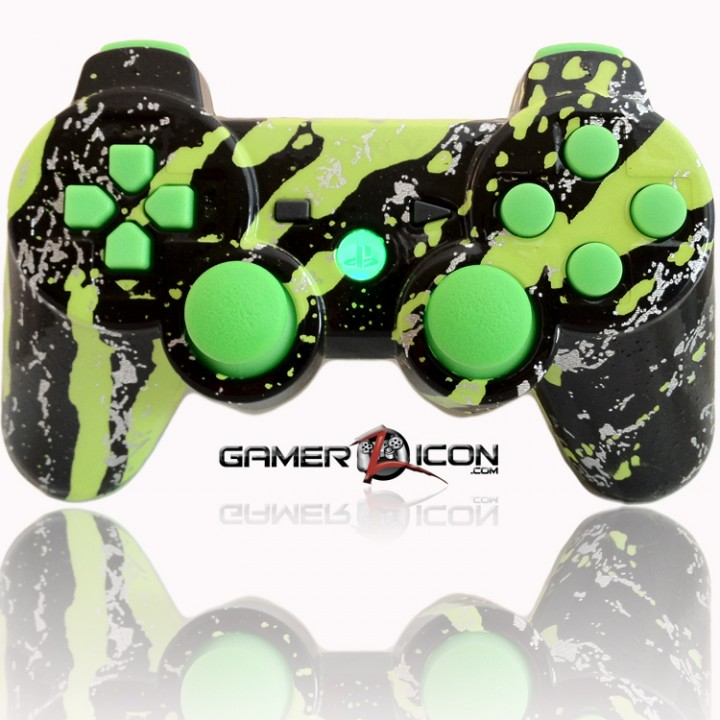 PS3 Modded Controller All Savage Green