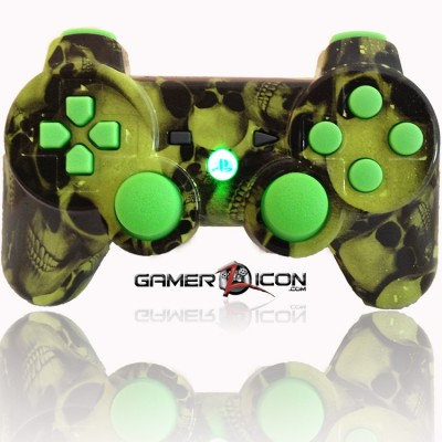 PS3 Modded Controller All Skull Green
