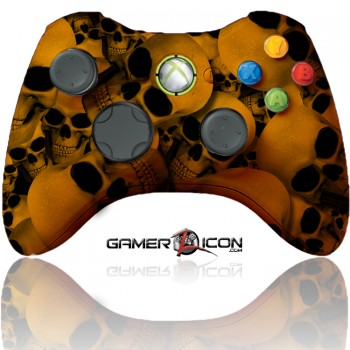 Xbox 360 Modded Controller Orange Skull