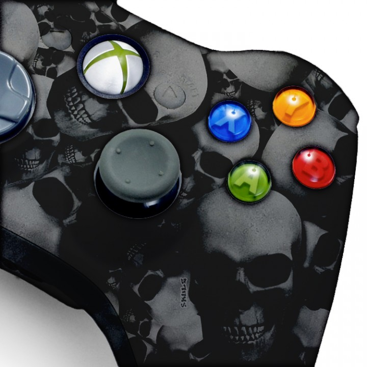 Xbox 360 Rapid Fire Silver Skull Controller