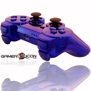 PS3 All Chrome Blue Rapid Fire Controller
