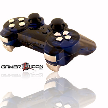 PS3 All Skull Blue Chrome Rapid Fire Controller