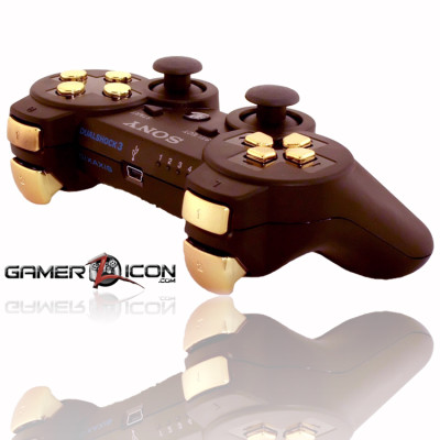 PS3 Charcoal Black Chrome Gold Rapid Fire Controller