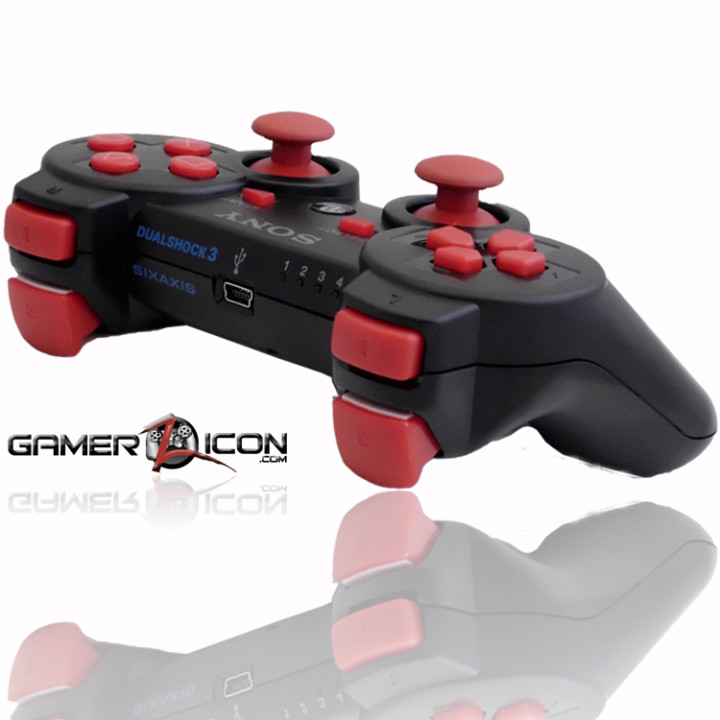 PS3 Charcoal Black Red Rapid Fire Controller