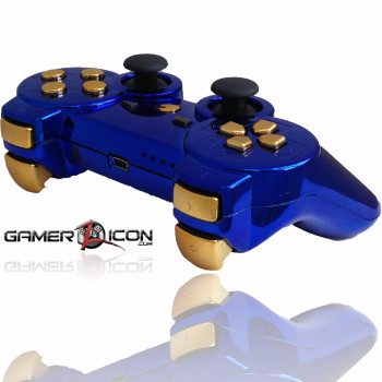 PS3 Chrome Blue Gold Rapid Fire Controller