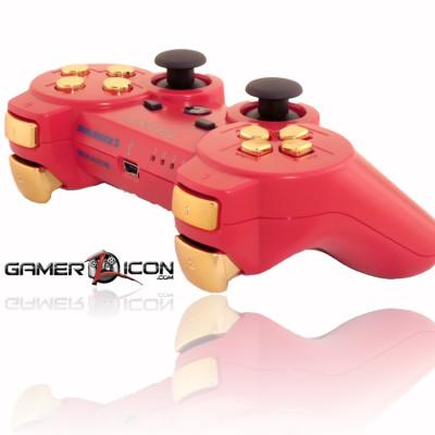 PS3 Deep Red Gold Rapid Fire Controller