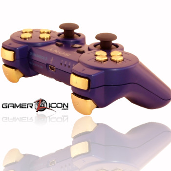 PS3 Metallic Blue Chrome Gold Rapid Fire Controller