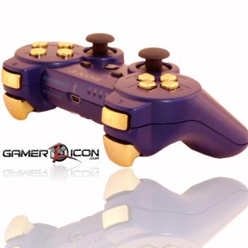 PS3 Metallic Blue Chrome Gold Rapid Fire Controller
