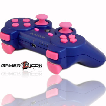 PS3 Metallic Blue Pink Rapid Fire Controller