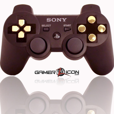 PS3 Modded Controller Charcoal Black Chrome Gold