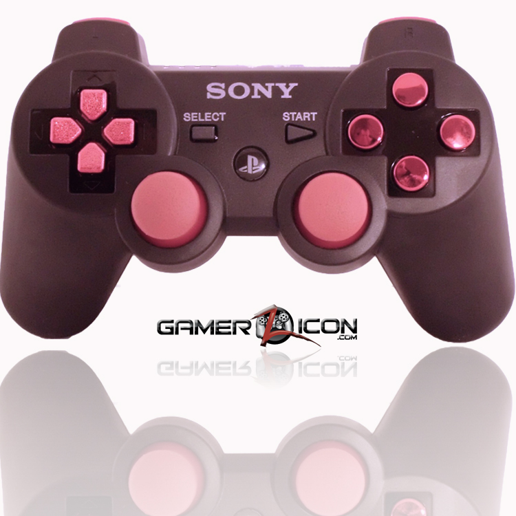 PS3 Modded Controller Charcoal Black Chrome Red