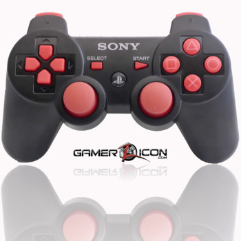 PS3 Modded Controller Charcoal Black Red