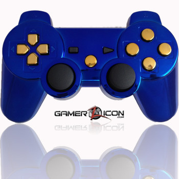 PS3 Modded Controller Chrome Blue Gold