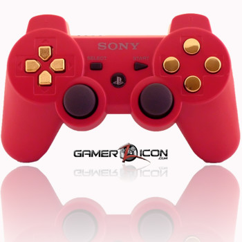 PS3 Modded Controller Deep Red Gold