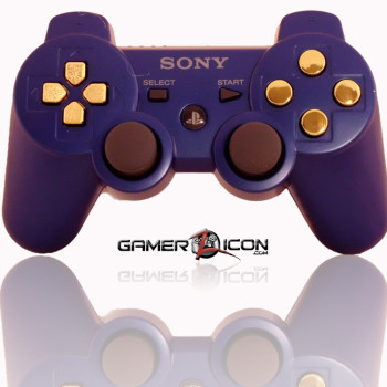 PS3 Modded Controller Metallic Blue Chrome Gold