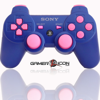 PS3 Modded Controller Metallic Blue Pink