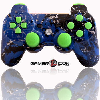 PS3 Modded Controller Savage Blue Green